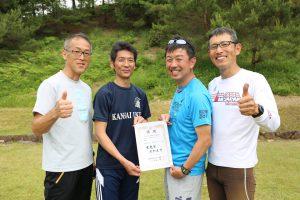 雪雄会チームがOGの部優勝! 左から小本、和田、坂本、薦田。